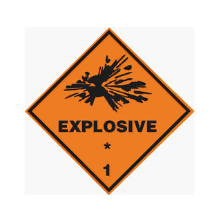 Explosive 1 - Dangerous Goods Label 100mm x 100mm - 1000/roll